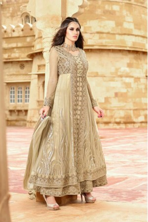 Beige color netted party wear anarkali suit