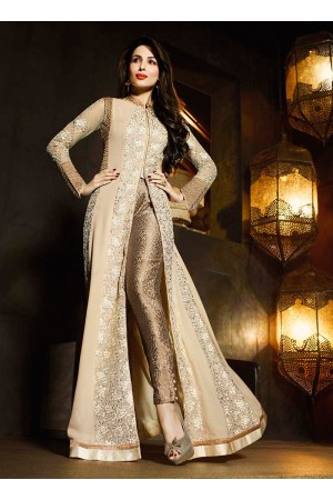 Malaika Arora Khan Georgette Beige and Cream Designer Suit