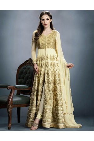 Cream Georgette Embroidered Anarkali Suit