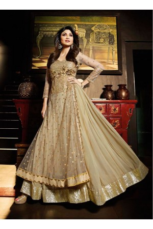 Ravishing Shilpa Shetty Beige Party Party wear Anarkali Suit
