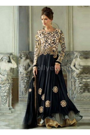 BLACK AND CREAM COLOUR DESIGNER SALWARKAMEEZ