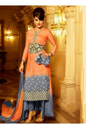 Perfect Light Orange Georgette Palazzo Churidar Suit