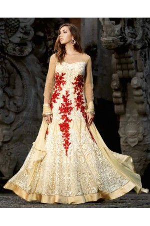 Off white and red color netted party wear anarkali suit