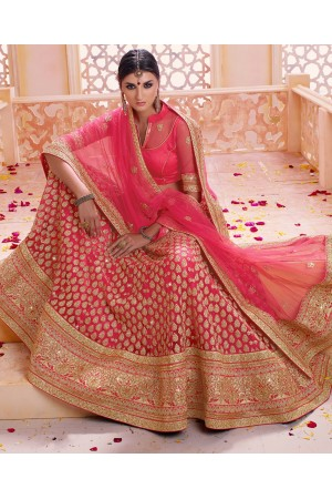 Pink color georgette and net embroidered wedding lehenga