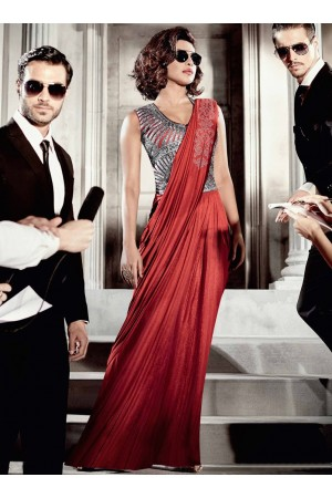 Priyanka chopra red saree type wedding gown