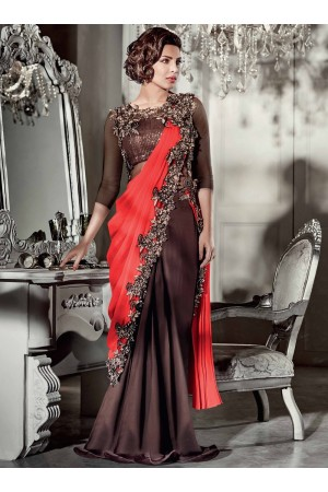 Priyanka chopra Brown and Plum color saree type wedding gown