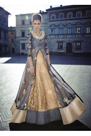 Grey and gold color Net lehenga style wedding anarkali