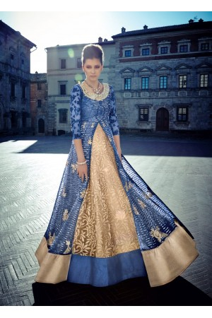 Blue and gold color Net lehenga style wedding anarkali