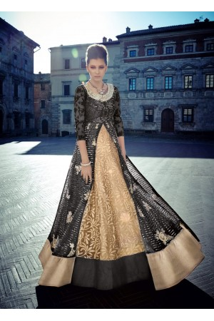 Black and gold color Net lehenga style wedding anarkali