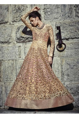 Gold and pink color Net wedding wear anarkali