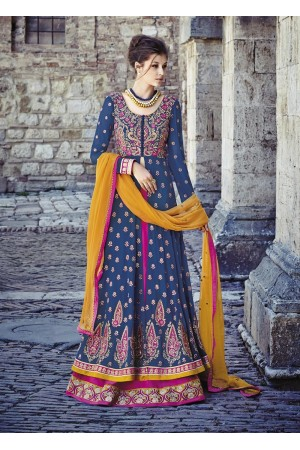 Blue and pink lehenga style wedding wear anarkali