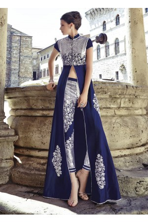 Navy blue silk pant type party wear salwar kameez