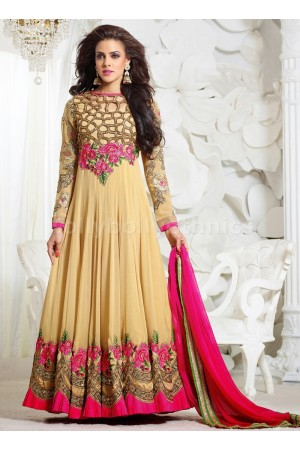 Cream Party wear Anarkali suit