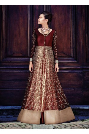 Maroon color netted party wear anarkali suit