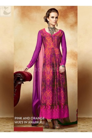 Pink and orange Party wear straight cut salwar kameez
