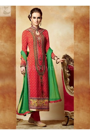 Red and green Party wear straight cut salwar kameez