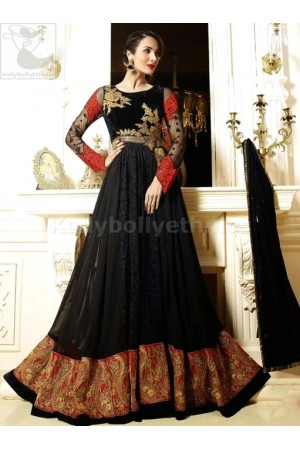 Black georgette Malaika Arorakhan Party wear salwar kameez
