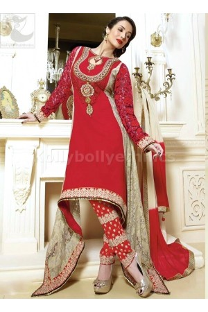 Red and beige georgette Malaika Arorakhan Party wear salwar kameez