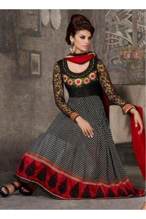 Black & red colour designer anarkali