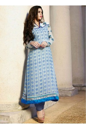 white and blue designer anarkali