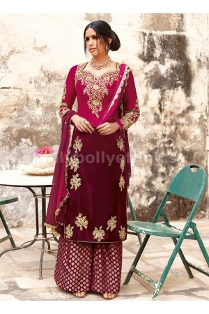 Magenta and Vine Purple Designer Velvet Suit