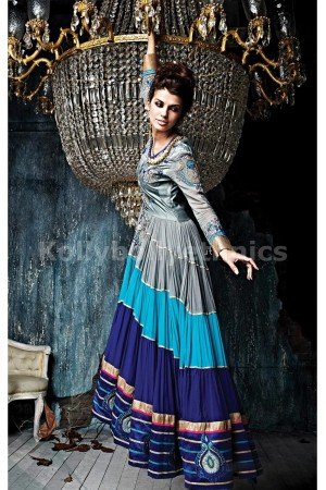 Blue And Grey Georgette Weddingwear Semi-Stitched Floor Length Suit