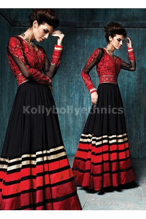Black And Red Color Floor Length Anarkali Salwar Kameez