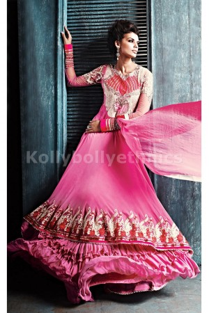 Majestic Pink Georgette Weddingwear Semi-Stitched Floor Length Suit