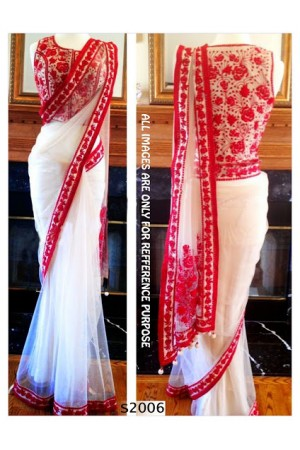 White & Red designer Saree