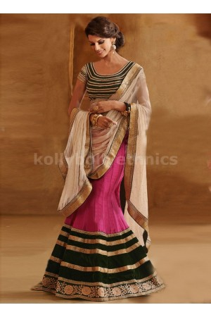 FABULOUS STONES AND PATCH WORK LEHENGA SAREE