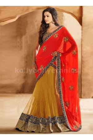 ALLURING MULTI WORK GEORGETTE AND NET LEHENGA SAREE