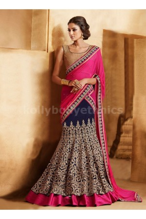 MAJESTY FUCHSIA AND NAVY BLUE COLOR LEHENGA SAREE
