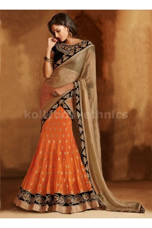GLEAMING MULTI AND RESHAM ENHANCED LEHENGA SAREE