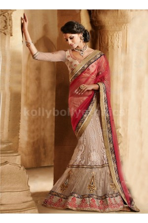 AESTHETIC BOOTI AND LACE WORK NET LEHENGA SAREE
