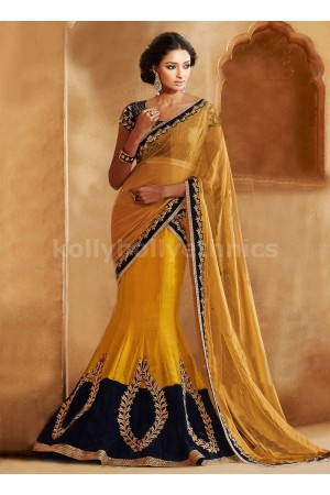 EXOTIC VELVET AND BEADS ENHANCED LEHENGA SAREE