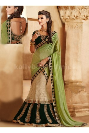 ELEGANT PATCH AND JAAL ENHANCED LEHENGA SAREE