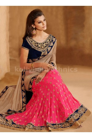 ASTONISHING BEIGE AND ROSE PINK COLOR LEHENGA SAREE