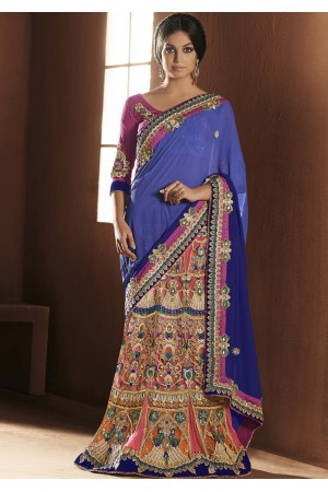 Enchanting Blue and pink Lehenga Choli