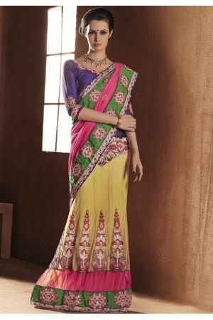 Mesmerizing Yellow and pink Lehenga Choli