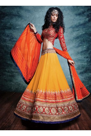 Aristocratic Georgette Embroidered Work A Line Lehenga Choli