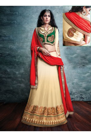 Chic Art Silk Cream A Line Lehenga Choli