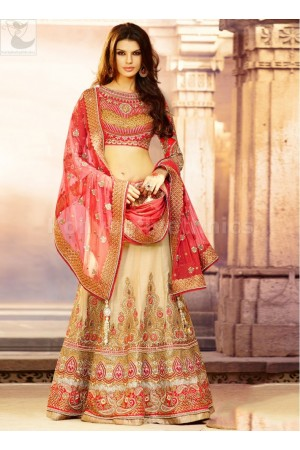 Cream colour Bridal Lehenga
