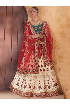 Cream and green colour banarasi silk bridal lehenga choli