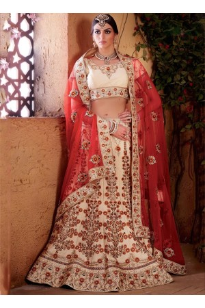 Cream and red color banarasi silk bridal lehenga choli