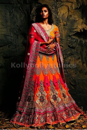 Pink and orange bridal lehenga choli