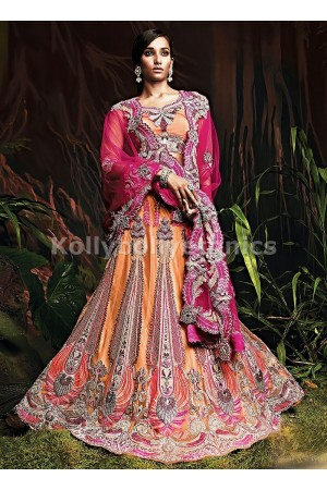 Light orange and magenta bridal lehenga choli