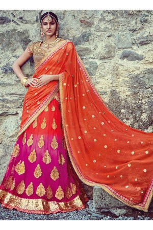Flamboyant Orange Georgette Lehenga Choli