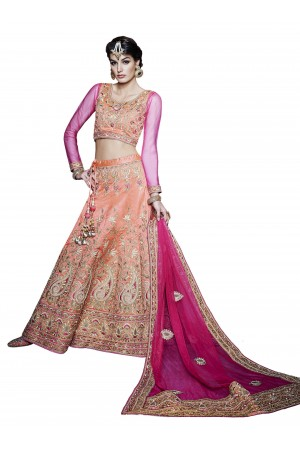 Hypnotizing Hot Pink and Orange A Line Lehenga Choli