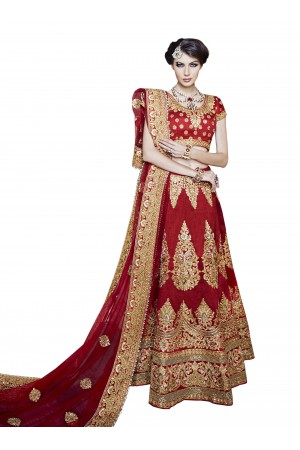 Beguiling Red A Line Lehenga Choli