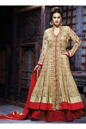 Decency Cream Net Lehenga Choli